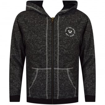 True Religion Junior Black/Grey Marled Logo Hoodie