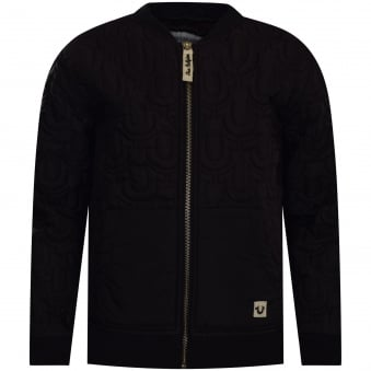 True Religion Junior Black Nylon Quilted Bomber Jacket