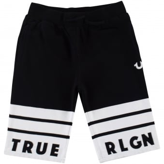 True Religion Junior Black/White Sweat Shorts