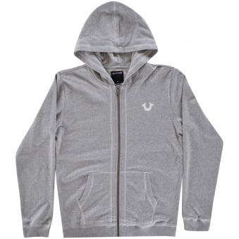 True Religion Junior Grey Crafted with Pride Zip Through Hoodie