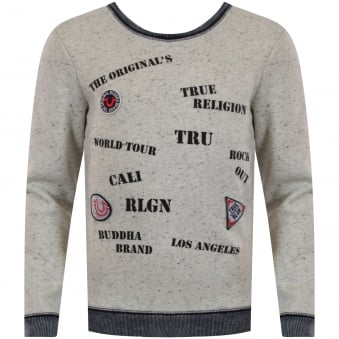 True Religion Junior Oatmeal Fleck Multi Stamp Sweatshirt