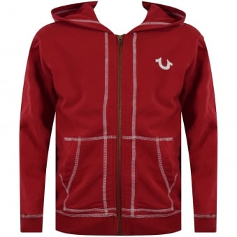 True Religion Junior Red Crafted with Pride Zip Through Hoodie