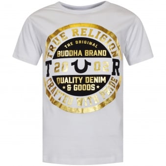 True Religion White/Gold Circle Logo T-Shirt