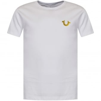 True Religion Junior White/Gold Hem Text T-Shirt