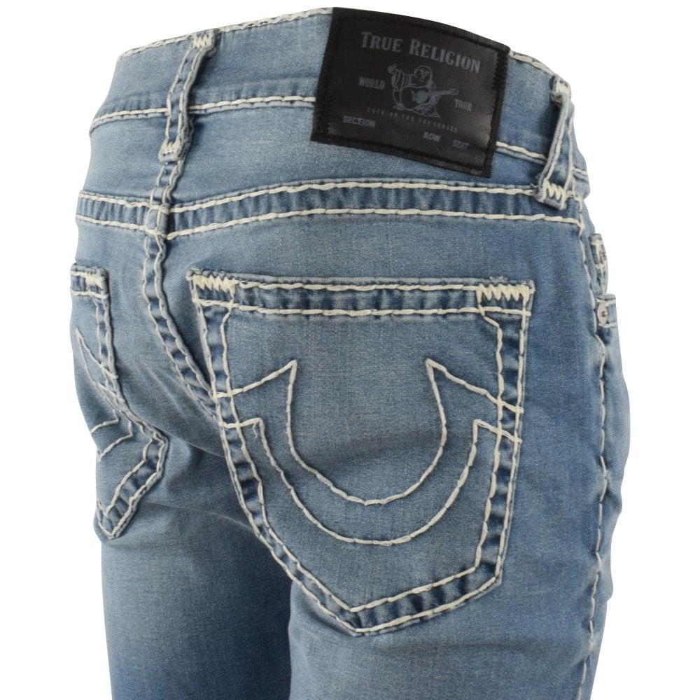 True Religion branded men's light blue jeans