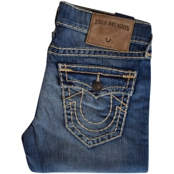True Religion Mid Wash Ricky Super T Straight Jeans