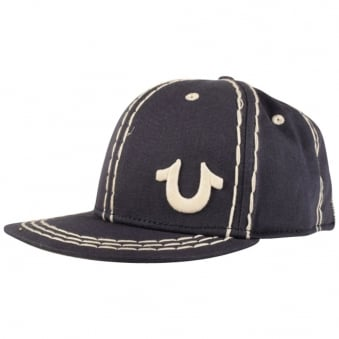 True Religion Navy Big Stitch Strapback
