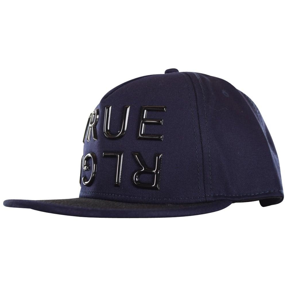 37ca4c4f9a2 TRUE RELIGION True Religion Navy Contrast Big Logo Strapback Cap ...