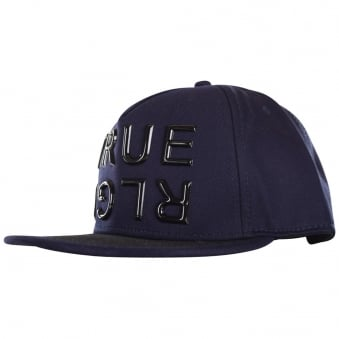 True Religion Navy Contrast Big Logo Strapback Cap