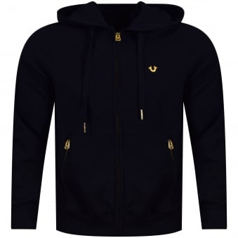 True Religion Navy/Gold Logo Zip Up Hoodie