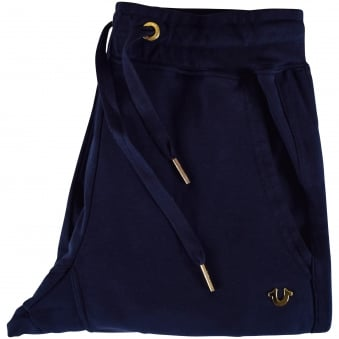 True Religion Navy/Gold Zip Logo Joggers