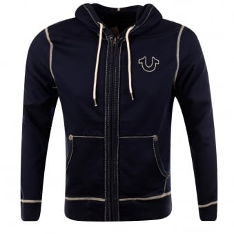 True Religion Navy Horse Shoe Stitch Hoodie