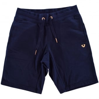 True Religion Navy/Rose Gold Logo Jersey Shorts