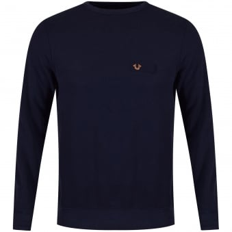 True Religion Navy & Rose Gold Metal Logo Sweatshirt