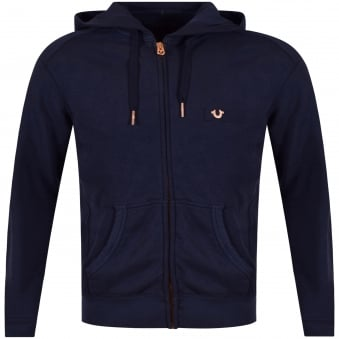 True Religion Navy & Rose Gold Metal Logo Zip Up Hoodie