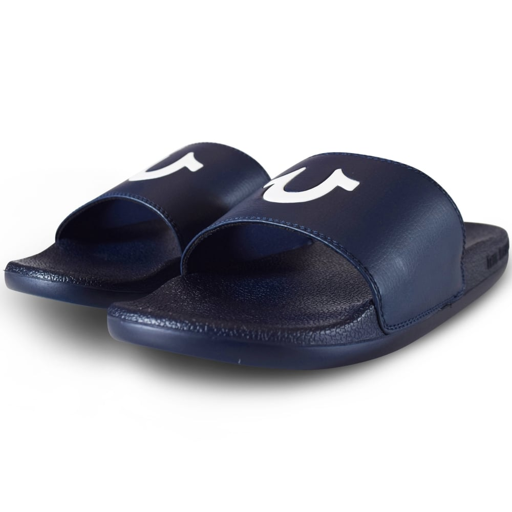 TRUE RELIGION True Religion Navy/White Logo Sliders - Men from Brother2Brother UK