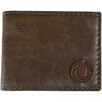 True Religion Olive Cracked Leather Wallet
