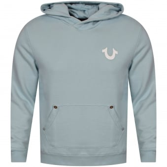 True Religion Pale Blue Pullover Logo Hoodie