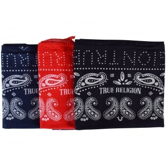 True Religion Red/Blue/Black Bandana 3 Pack
