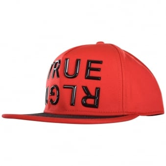 True Religion Red Contrast Big Logo Strapback Cap