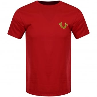 True Religion Red/Gold Buddha Logo T-Shirt