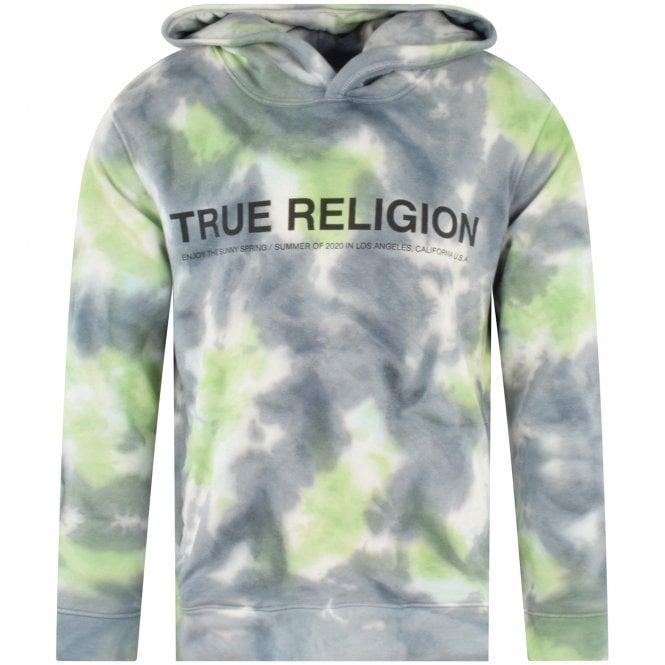 TRUE RELIGION Tie Dye Logo Pullover Hoodie