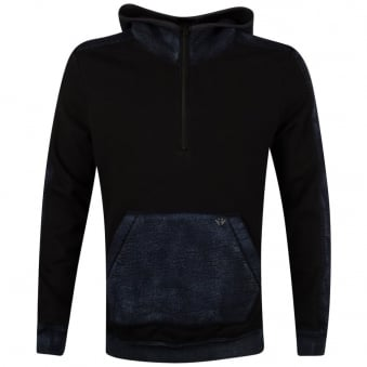True Religion Black/Denim Half Zip Pullover Hoodie