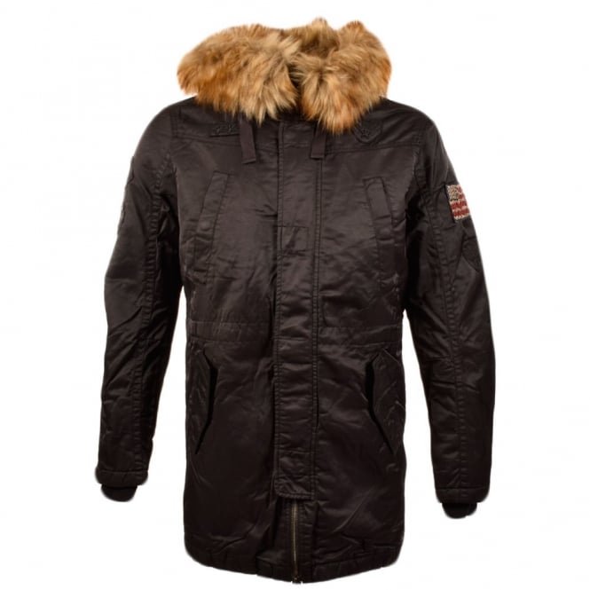 true religion true religion long black parka with fur hood true religion from brother2brother uk. Black Bedroom Furniture Sets. Home Design Ideas