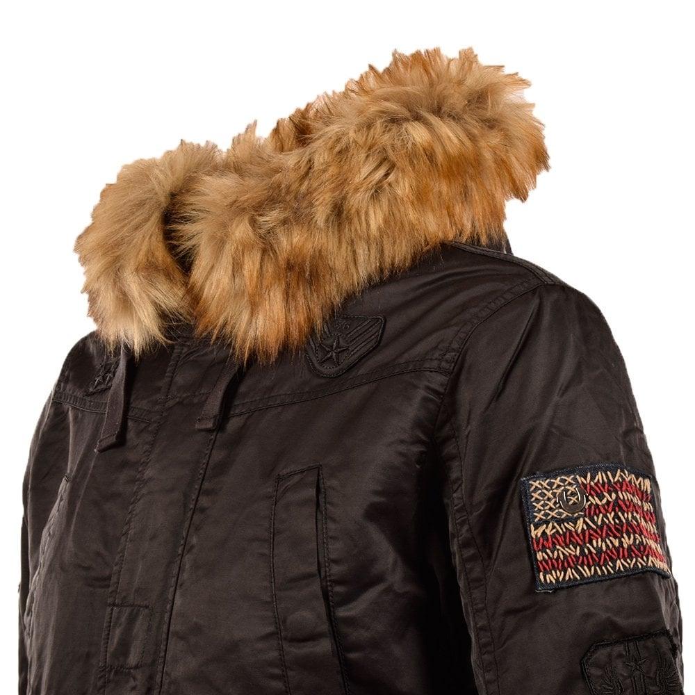 true religion true religion long black parka with fur hood true. Black Bedroom Furniture Sets. Home Design Ideas