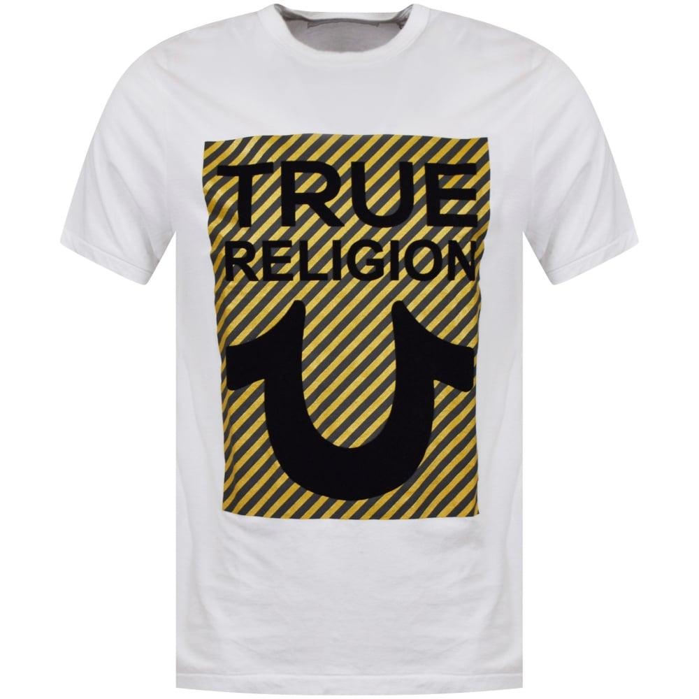 ed876f38 TRUE RELIGION True Religion White/Black/Gold Stripe True U T-Shirt ...
