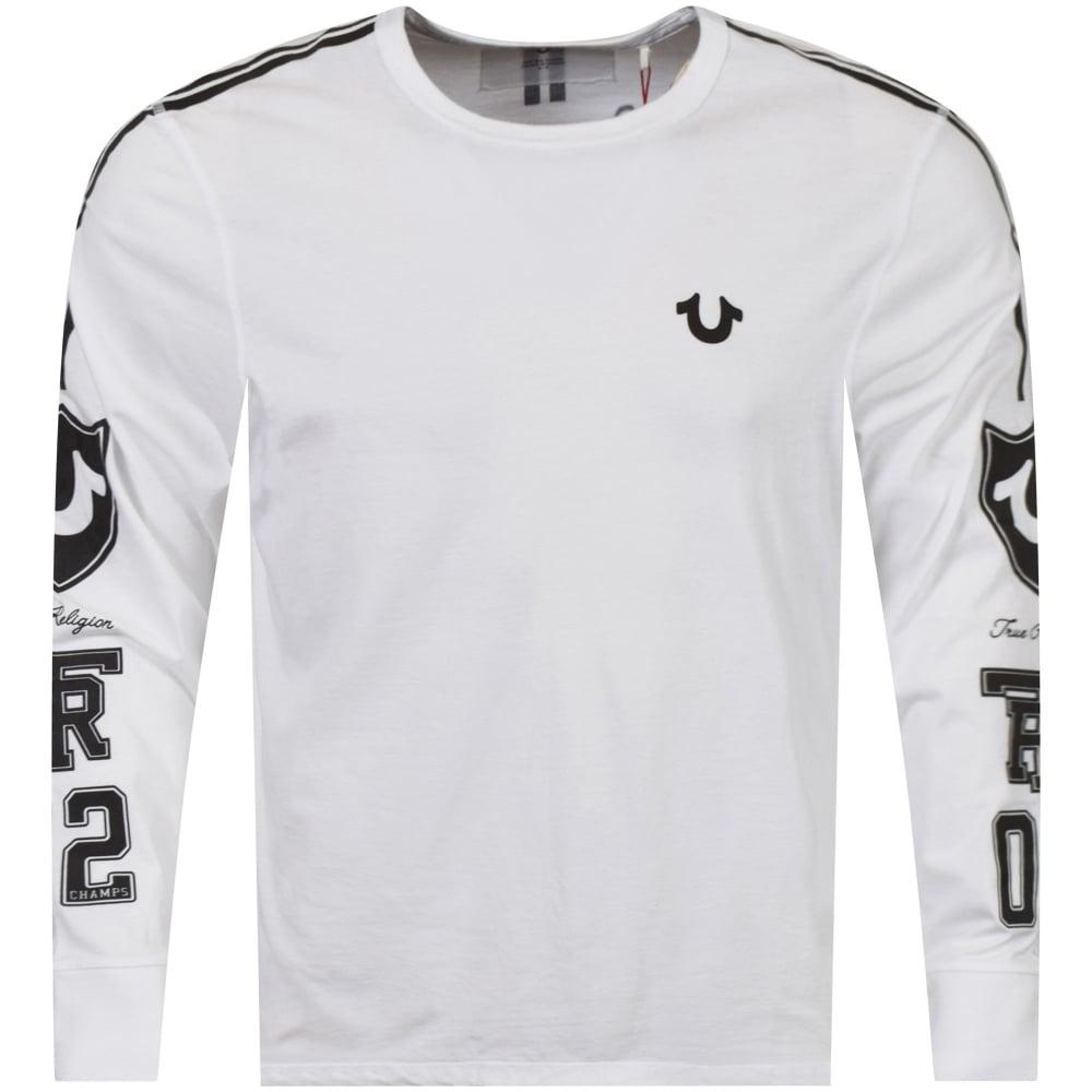 26c2384e01b TRUE RELIGION True Religion White Black Long Sleeve Logo T-Shirt ...