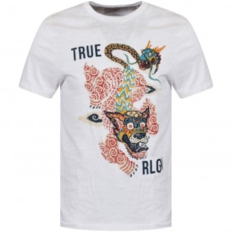 True Religion White Dragon Logo T-Shirt