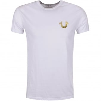 True Religion White/Gold Buddha Logo T-Shirt