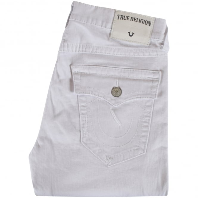 TRUE RELIGION White Ricky Distressed Straight Fit Jeans