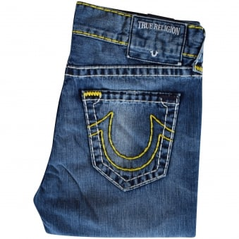 True Religion Yellow Stitch Rocco Skinny Jeans