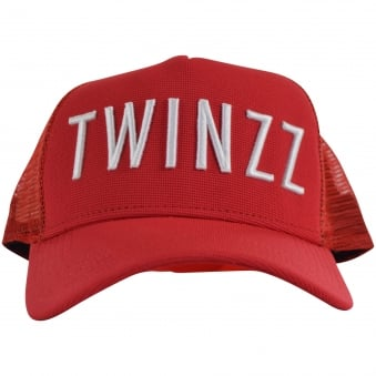 TWINZZ Red/White Mesh Trucker Cap