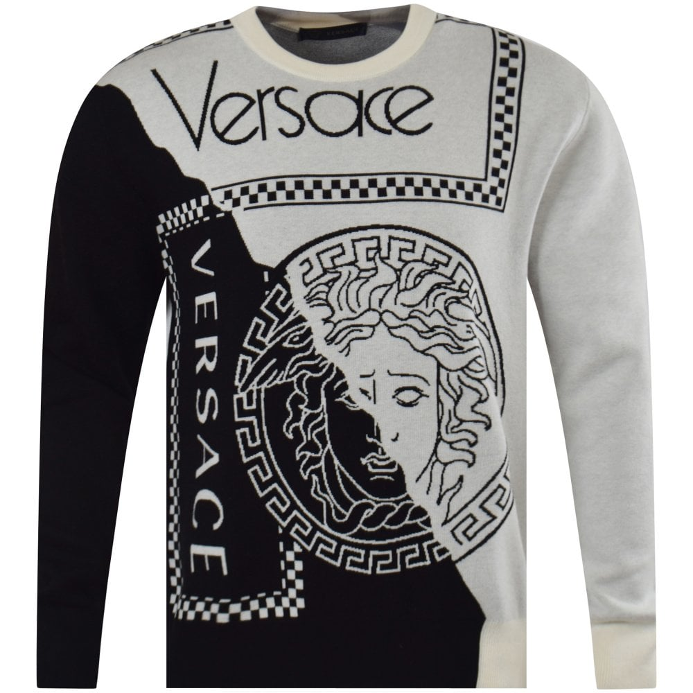 58a966d5e3f8 VERSACE Two-Tone Logo Slim Fit Knit Jumper - Men from Brother2Brother UK