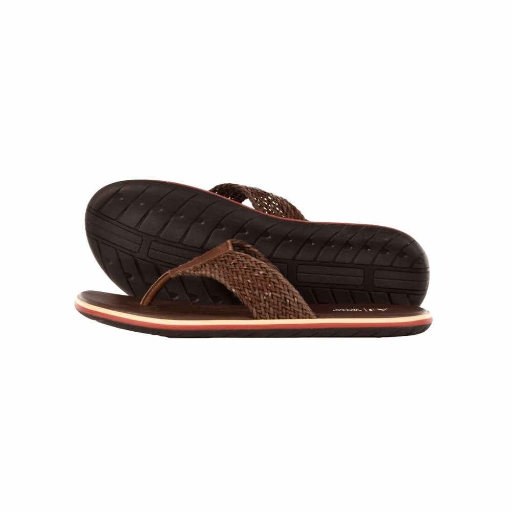 d4256e919adb8 EMPORIO ARMANI V658185 Brown Leather Sandals - Men from ...