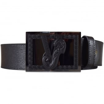 Versace Accessories Black Buckle Logo Belt