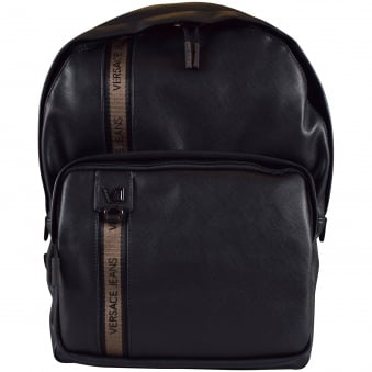 Versace Accessories Black Faux Leather Stripe Logo Backpack