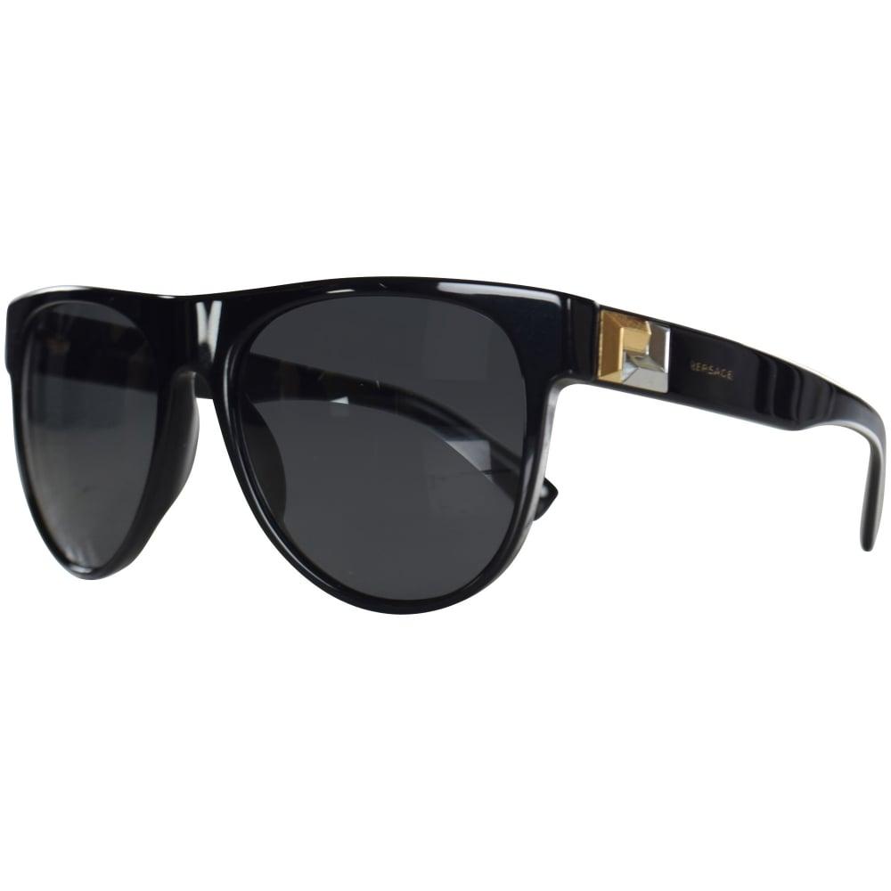 56fe4cccdd6 VERSACE Versace Accessories Black Gold Detail Wayfarer Sunglasses ...