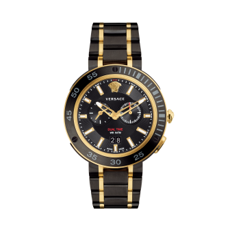Versace Accessories Black/Gold Dual Time Watch