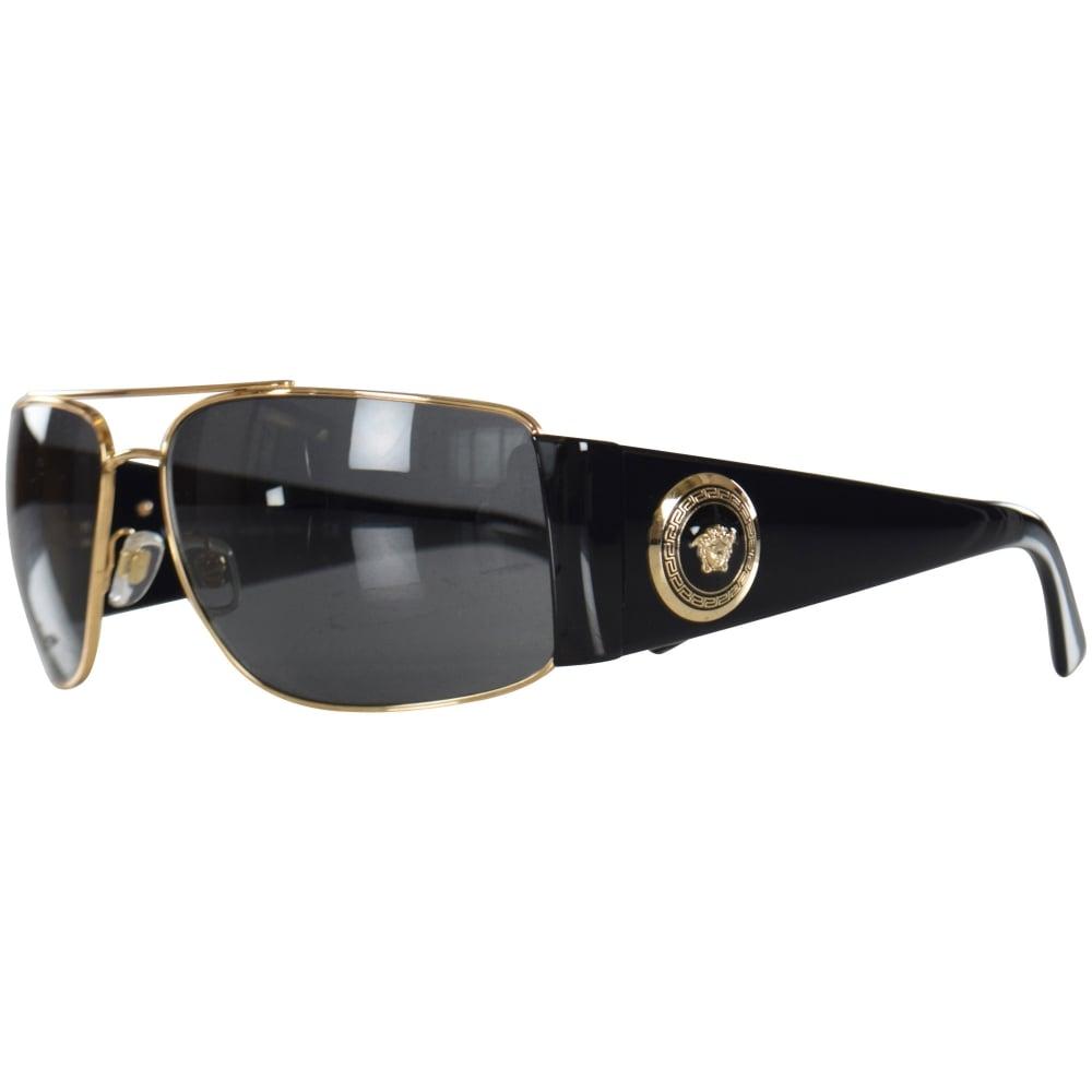 VERSACE Versace Accessories Black/Gold Retro Medusa Frame Sunglasses ...