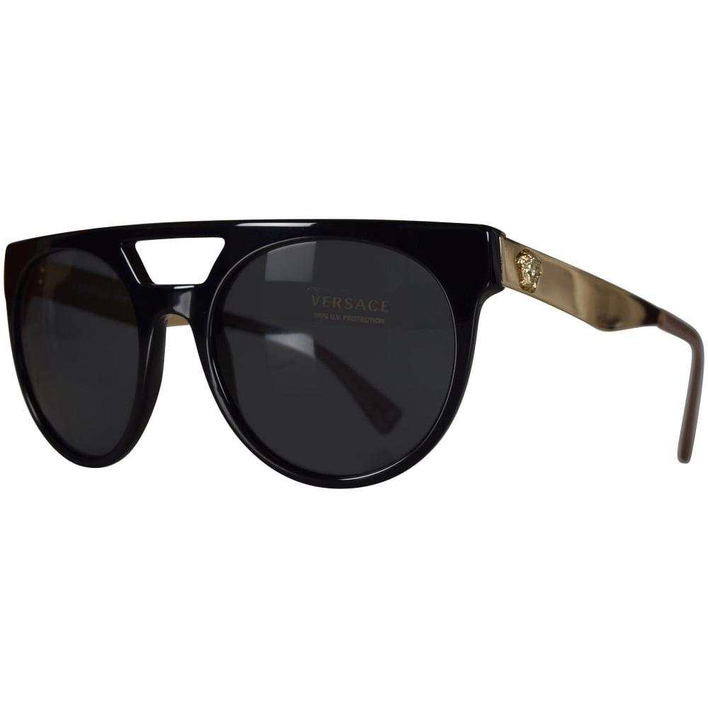 VERSACE Versace Accessories Black/Gold Round Frame Sunglasses - Men ...