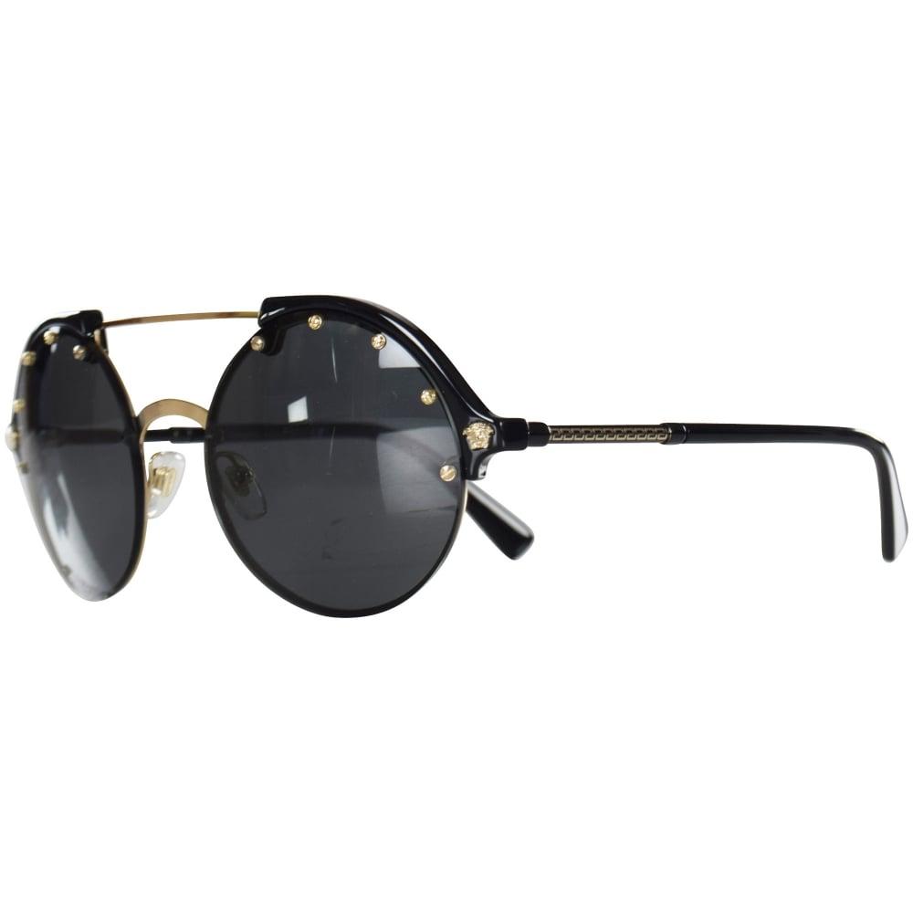 f0b7d698121 VERSACE Versace Accessories Black Gold Tea Shade Sunglasses - Men ...