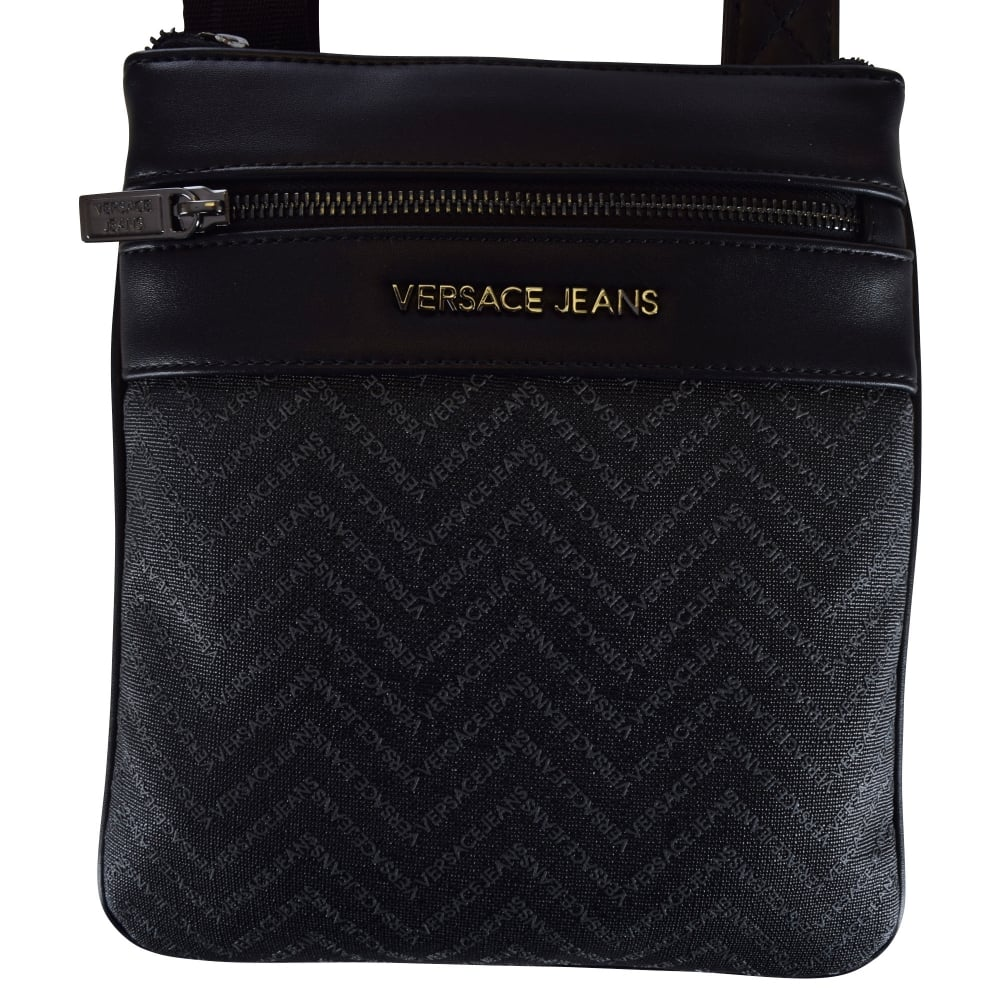 VERSACE ACCESSORIES Versace Accessories Black Leather Logo Body Bag ... 944770eb0b0a7