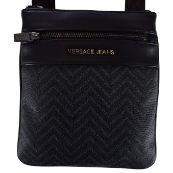 Versace Accessories Black Leather Logo Body Bag