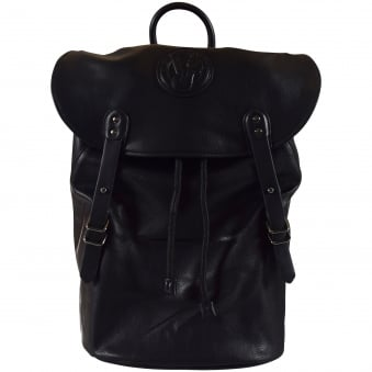 Versace Accessories Black Leather Logo Duffle Backpack