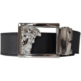 Versace Accessories Black Medusa Reversible Buckle Belt