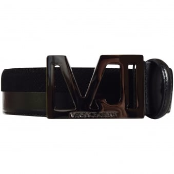Versace Accessories Black Patent & Grained Logo Buckle Belt